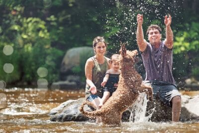 Millennial parents playing with kids in water